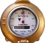 A brass water flow gauge
